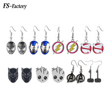 Marvel Jewelry Avengers Drop Earrings Black Panther Ghostbusters Thor Iron Man Guardians Of The Galaxy Earrings for Women Gift цена в Москве и Питере