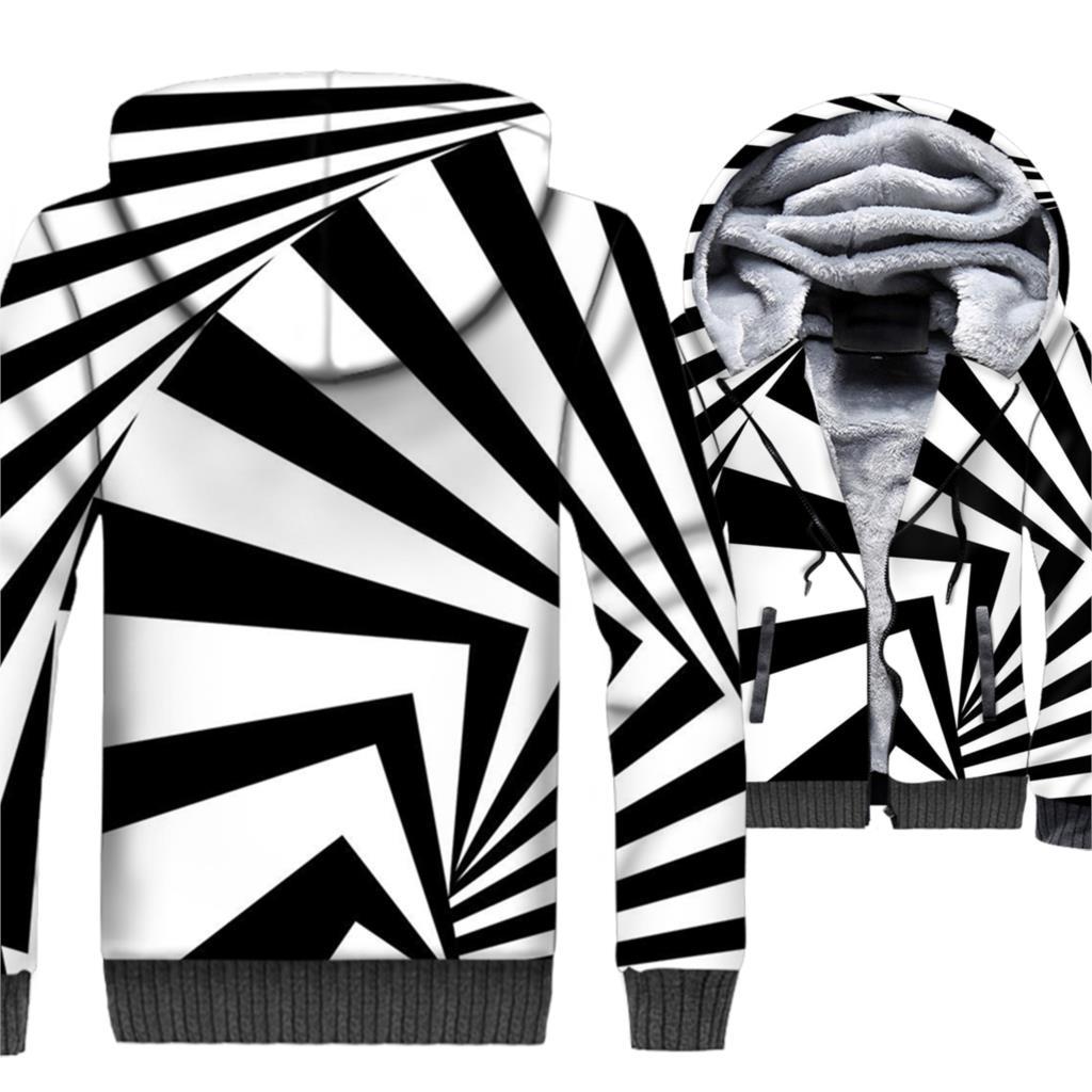 Marque vêtements 2018 hiver épais Hoodies Hip Hop 3D Sweatshirts Harajuku Unsiex noir blanc Vortex veste Streetwear Zipper Coat - 3