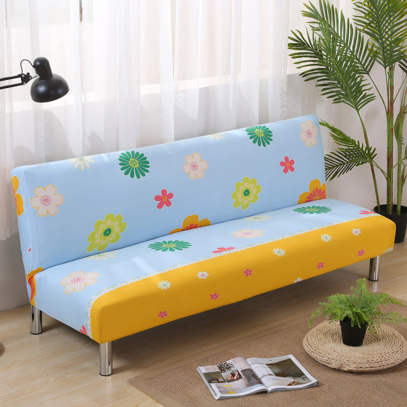 No Handrail Printed Sofa Covers Elastic Folding Bed Without Armrest Spandex Soft
