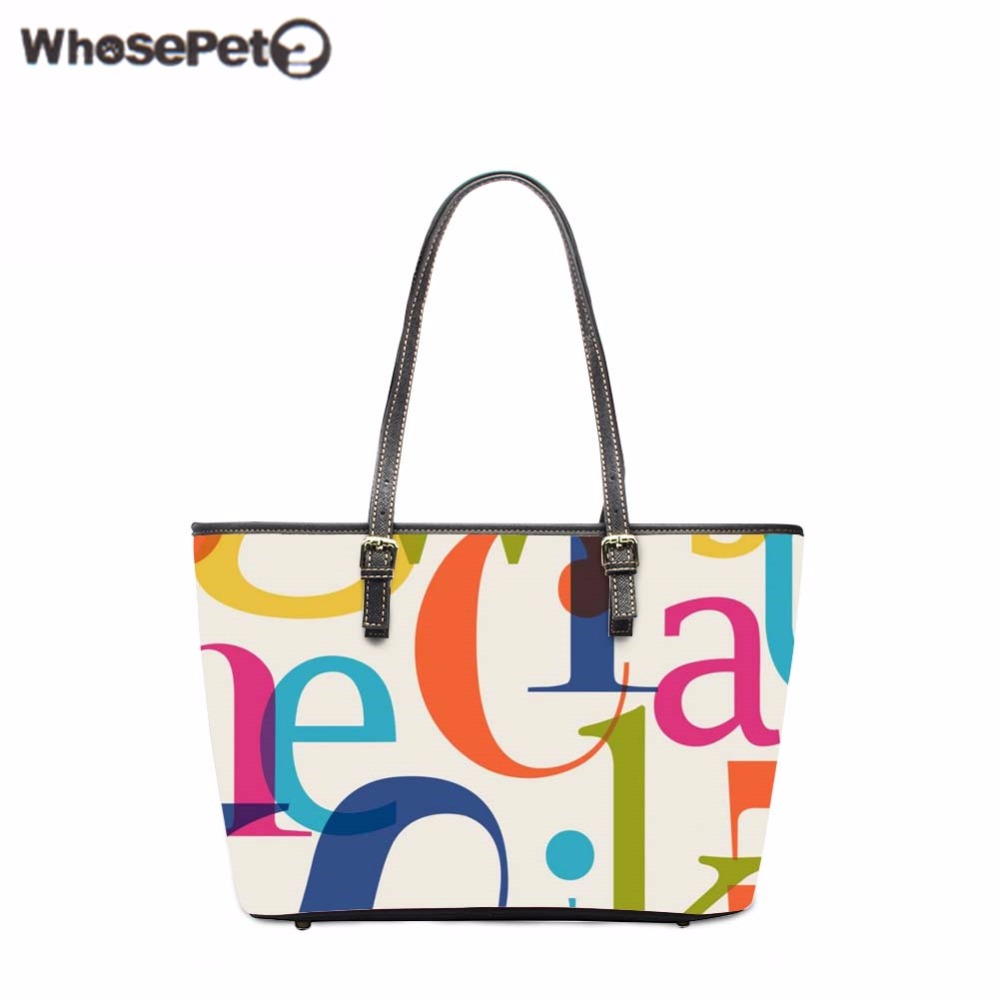 WHOSEPET Letters Print Handbags High Capacity Messenger Tote Vintage Shoulder Bags Lady Top-Handle Bags Pu Women Totes Bag New 3 pcs set vintage handbags women messenger bags female purse solid shoulder bags office lady casual tote new top handle bag