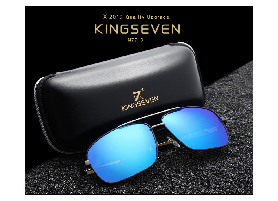KINGSEVEN DESIGN Men Polarized Square Sunglasses Fashion Male Eyewear Aviation 100% UV Protection Glasses with Original Package