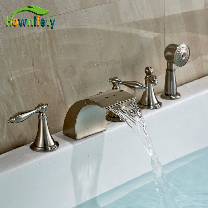 Brushed Nickel bath 5pcs Tub faucet Three Handles With Brass Handshower