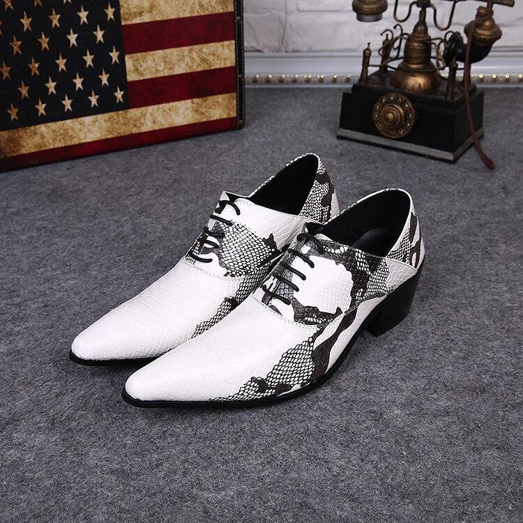Autumn 2018 Snakeskin Men Leather Shoes Pointed Toe Men Dress Shoes Elevator Men Formal Shoes Lace Up Oxford Shoes For Men