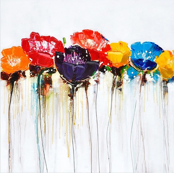 Handmade Abstract Style Colorful Flowers Oil Painting on Canvas for Home Decor in Hotel LivingRoom Cafe Office wall art