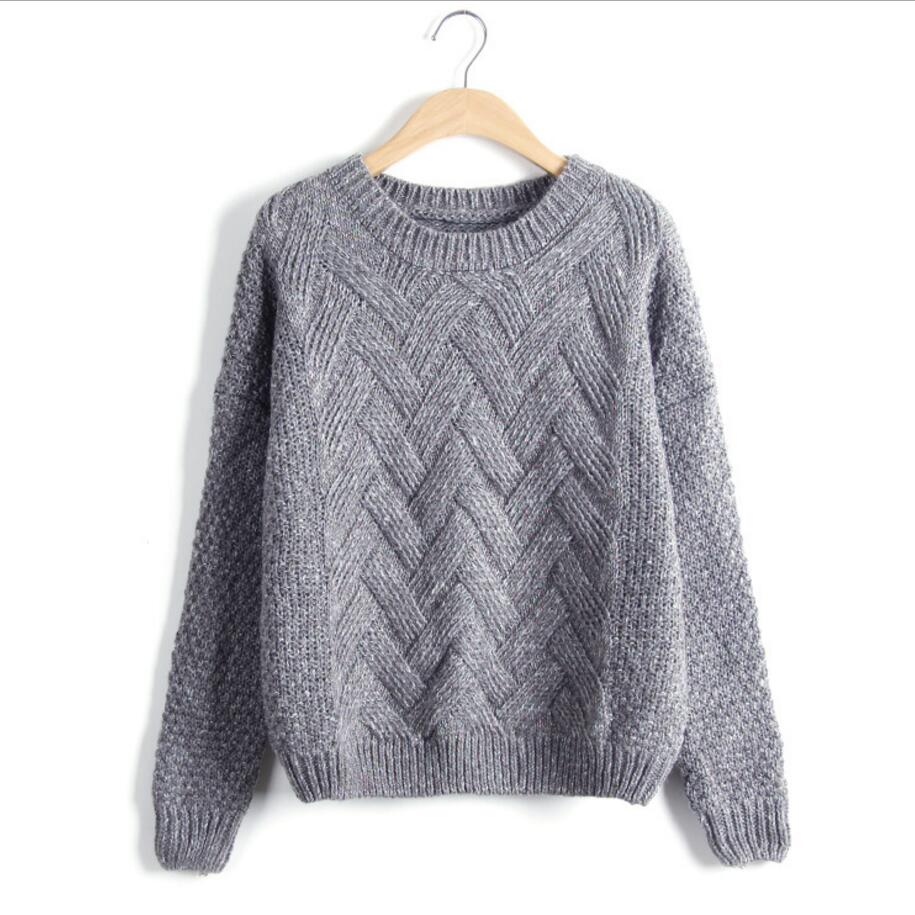 df51472c71061a Winter Sweater Women Fashion Long Sleeve O Neck Twist Chunky Cable Thick  Knitted Loose Jumper Women Sweaters And Pullovers-in Pullovers from Women s  ...