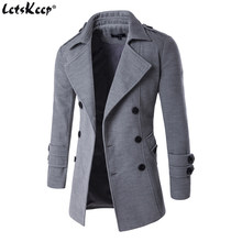 Letskeep NEW Men's Spring Autumn Overcoat for man wool & blends double breasted peacoat trench coat men Slim fit, ZA193(China)