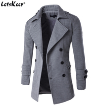 Letskeep NEW Mens Spring Autumn Overcoat for man wool amp blends double breasted peacoat trench coat men Slim fit ZA193 cheap Wool Blends Turn-down Collar Regular Cotton Standard Long Broadcloth Acetate Polyester Cotton ZA193 wool blends overcoat men overcoat mens jackets and coats