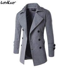 Letskeep Новый Для Мужчин's Демисезонный пальто для человек Шерсть & Смеси double breasted peacoat плащ Для мужчин Slim fit, ZA193