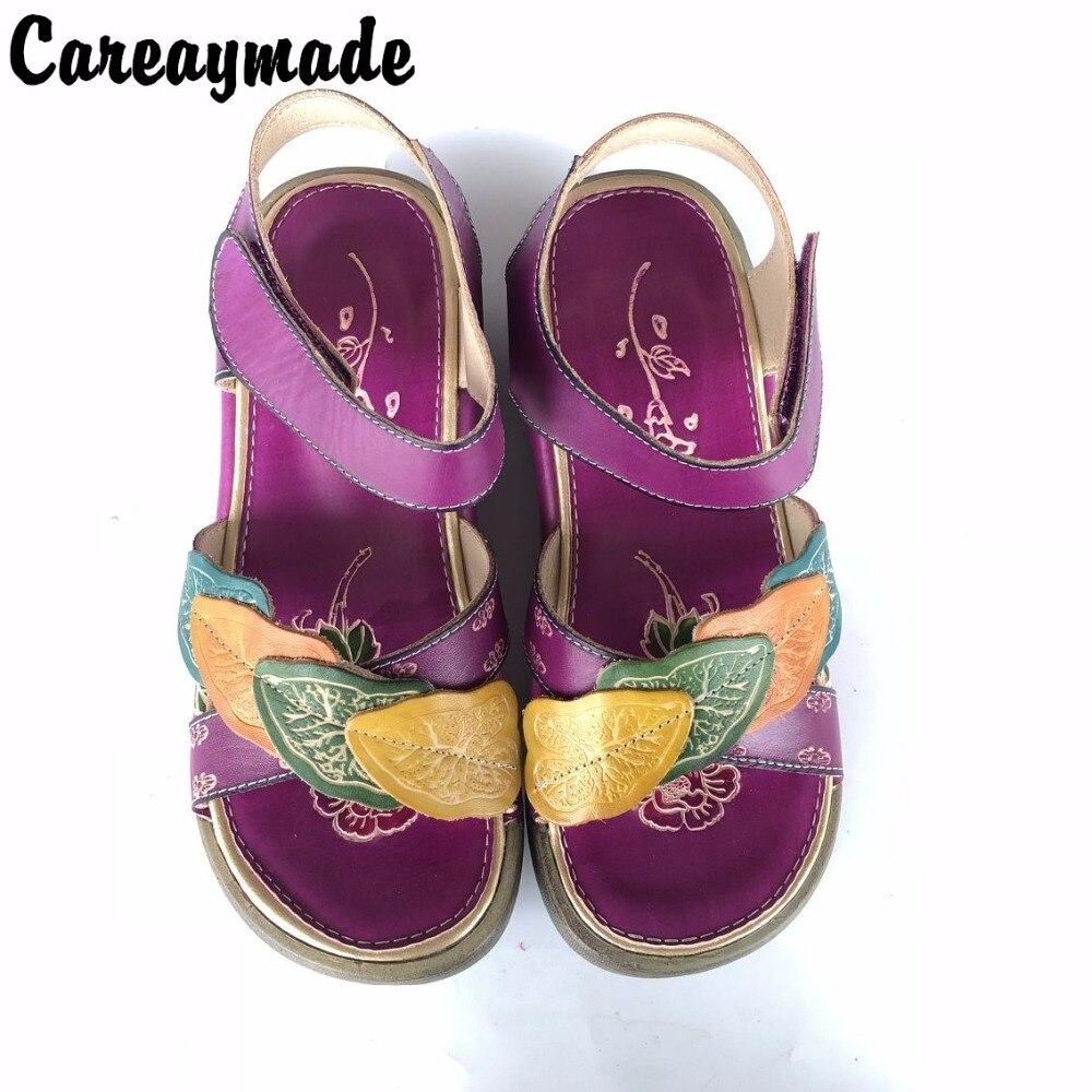 Careaymade-Folk style tête couche peau de vache pure à la main sculpté chaussures, l'art rétro mori fille chaussures, Sandals1601-1 décontracté pour femmes