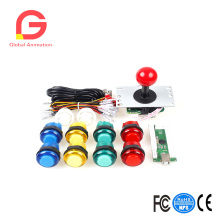 Zero Delay USB Encoder To PC Games Red Joystick + 10x LED Illuminated Push Buttons For Arcade Joystick DIY Kits Parts Mame Rasp