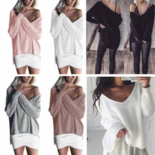 Autunm Spring Women Sweaters Pullovers Casual Loose Knitted Sweater Women Tricot Pullover Jumpers Mujer Sexy Sweater