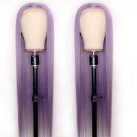 Индивидуальные фиолетовые прямые парики из натуральных волос на кружеве, предварительно сорванные с волосами младенца, бесклеевые парики
