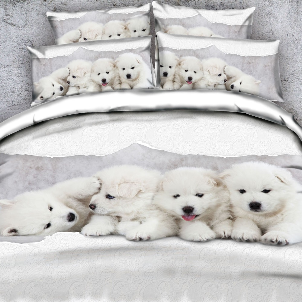 Goldeny Brand 3 Parts Per Set Beautiful white puppies portrait 3d animal bedlinen