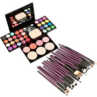 24 kleuren oogschaduw 8 kleuren lippenstift Make Palet Set Oogschaduw Foundation Blusher Puff met 20 Stks Poeder Borstel