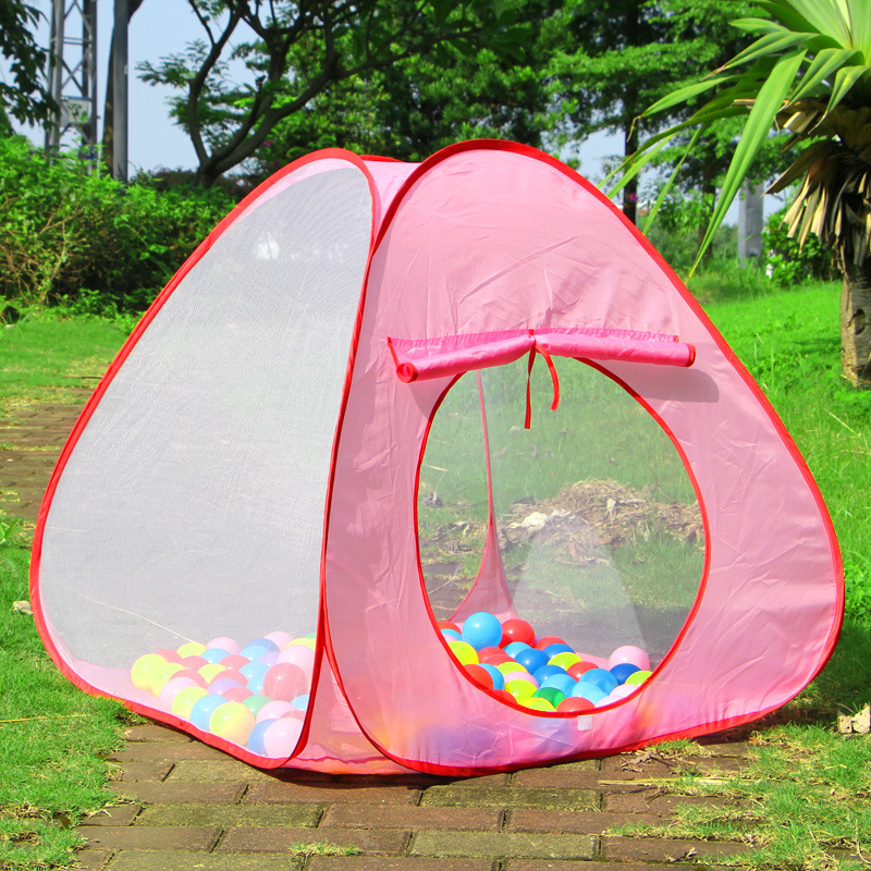 Foldable indoor outdoor childrens play house on three sides gauze spacious tent ocean ball pool toys parent-child interaction
