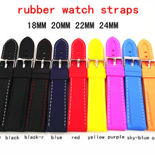 45 шт/лот 18 мм 20 мм 22 мм 24 мм резиновый ремешок для наручных часов часы ремешок 9 цветов мужские и женские ремешки для часов