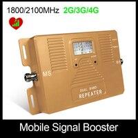 Haute Qualité! Double Bnad 2G + 3G + 4G 1800/2100 mhz Plein Smart mobile signal booster répéteur de téléphone portable amplificateur de signal Seulement Booster!