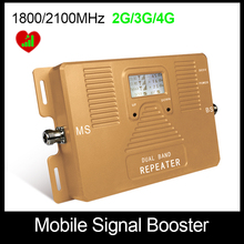 High Quality!Dual Bnad 1800/2100mhz 2G+3G+4G Full Smart mobile signal booster repeater cell phone signal amplifier Only Booster!