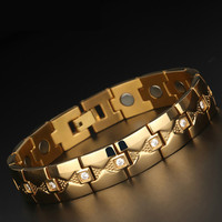 European and American Men's Titanium Steel Bracelet Studded with Electroplated Gold Magnet Health Stainless Steel Jewelry