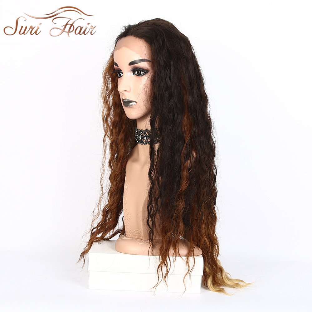 Suri Hair long natural wave synthetic lace front wig Heat resistent Mixed Brown Natural Hairline Synthetic fiber free part wigs
