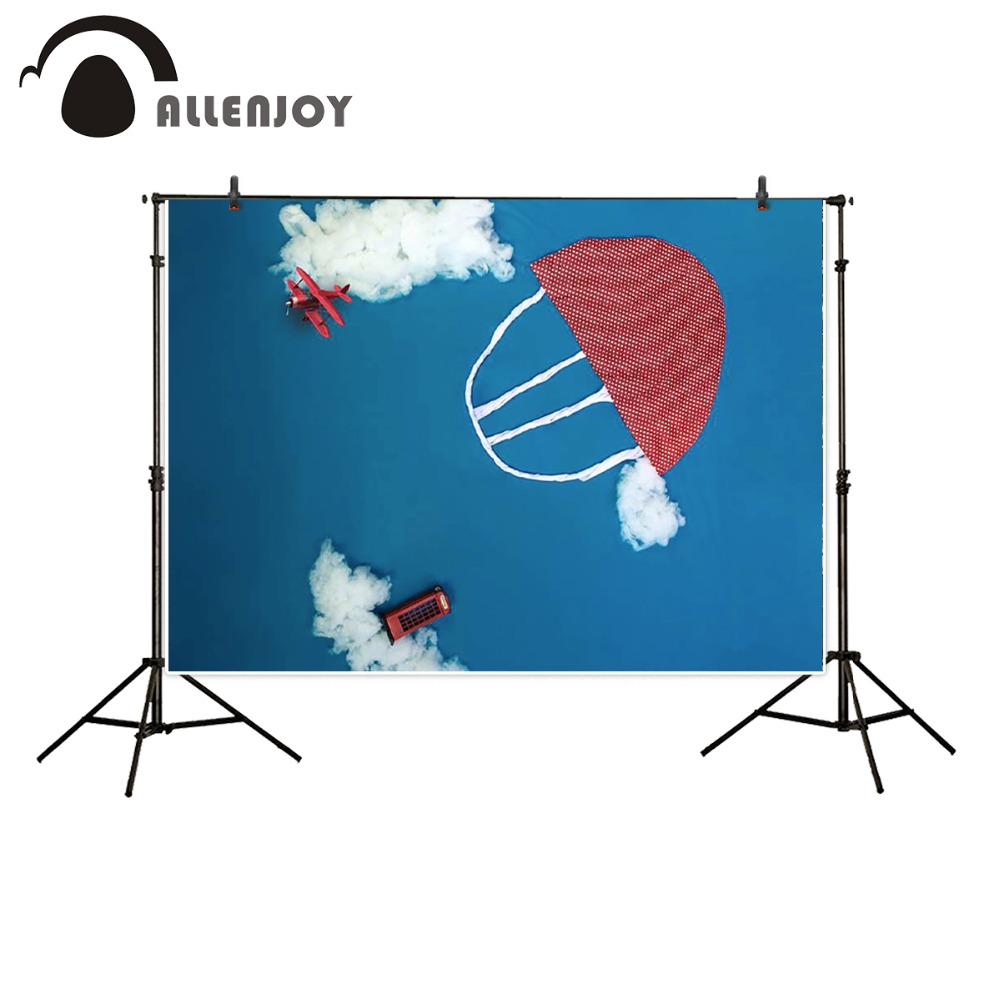 Allenjoy 5ftx7ft Children Photography Backdrop cartoon blue sky clouds airplane parachute fabric background for photo studio 5x7ft fabric backdrop photography background beautiful heart shape clouds