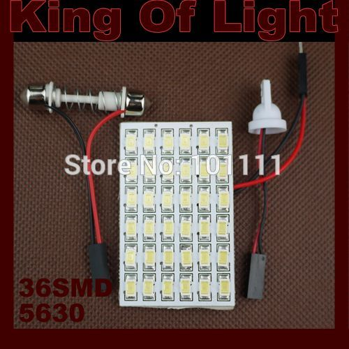 1X 36 LED SMD 5630 5730 Car Interior Light T10 Festoon Dome Adapter led Car Vehicle LED Panel Auto car light source Free ship festoon 0 12w 3 smd vehicle