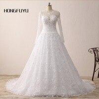 Vestido De Noiva Charming Lace Sheer Long Sleeve Ball Gown Wedding Dresses 2015 Long Bridal Casamento