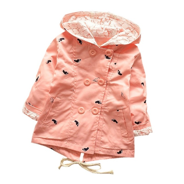 2017 Spring Autumn New Arrival Hooded Girls Coat 100% Cotton Jacket For Girls 1-4 Years Manteau Fille Windbreaker KF101