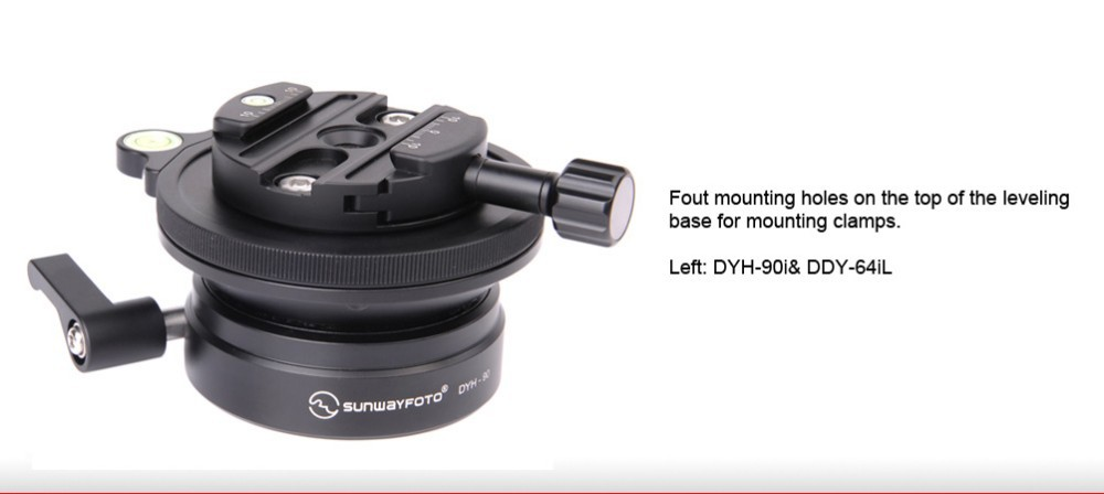 SUNWAYFOTO DYH-90I רמת חצובה עבור מצלמת DSLR Tripode Ballhead פילוס בסיס חצובה פילוס בסיס פנורמי LevelTripod