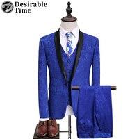 זמן רצוי Mens חליפות עם מכנסיים צווארון צעיף פרחוני כחול רויאל שמלות כלה חליפות גברים חתן לנשף DT108