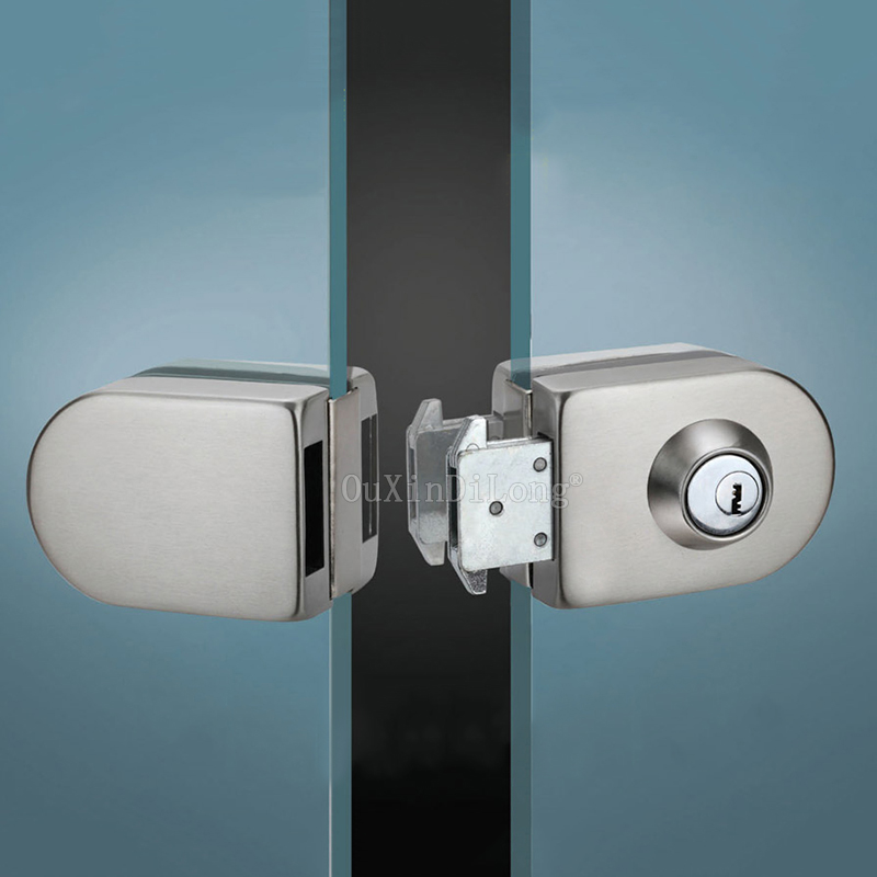Sliding Central Glass Door Lock,stainless steel,No need to open holes,Bidirectional unlock,Frameless glass door CP397 thick reinforced glass door lock all sus304 stainless steel no need to open holes frameless glass door cp408