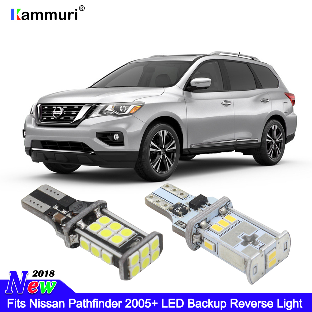 KAMMURI Error Free W16W T15 LED Bulbs Fits Nissan Pathfinder 05+ Bright White Xenon T15 LED Globe Backup Reverse Light ...