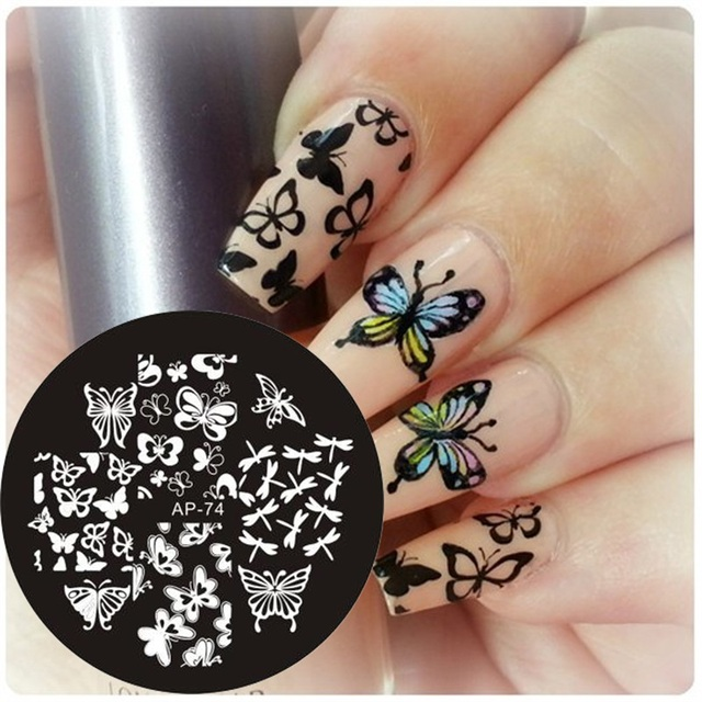 Hot Classic Butterfly Dragonfly Shape Nail Art Stamping Template Plates  Pandox AP74 Image Plate - Hot Classic Butterfly Dragonfly Shape Nail Art Stamping Template
