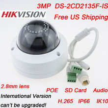 New Models v5.3.6 IP Camera DS-2CD2135F-IS 2.8mm 3MP HD1080P Network Dome Cameras H.265 POE Infrared Waterproof Day And Night