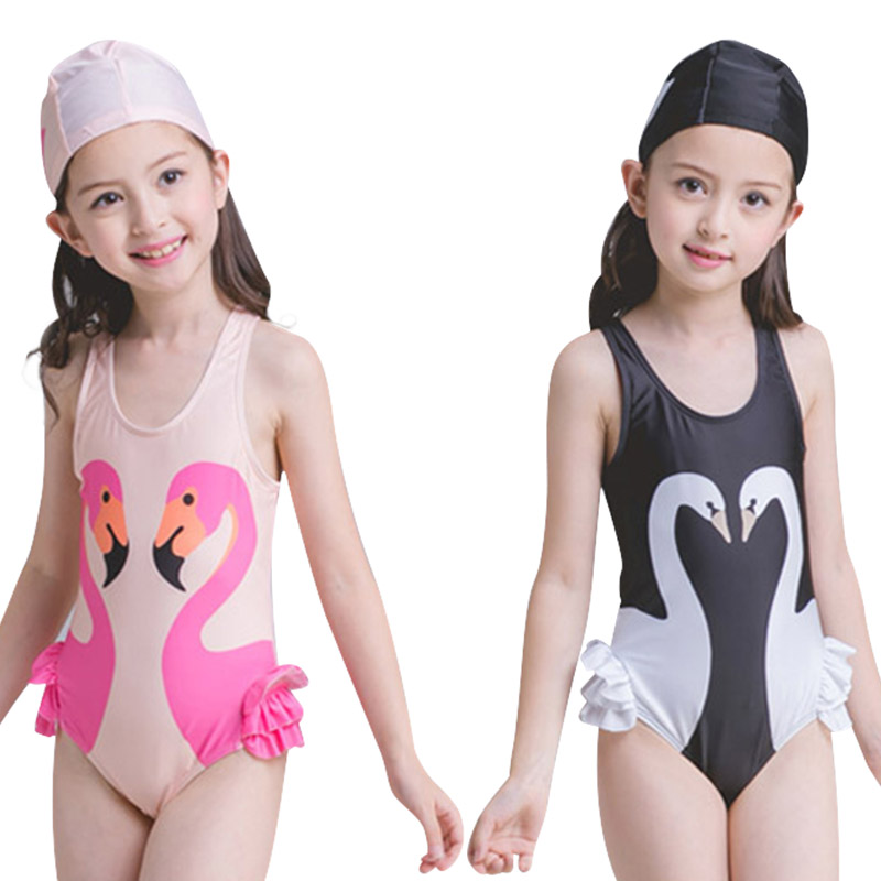 Swimwear Summer Lace Kids Baby Girls Bikini Suit Sunscreen Quick-drying Swimsuit Sling Swan Swimwear Bathing One-piece Swimming Clothes High Quality Materials
