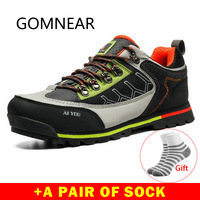 GOMNEAR Outdoor Shoes Leather Trekking Hiking Shoes Men Breathable Hiking Boots Men Sneakers Sport Mountain Climbing Shoes Brand
