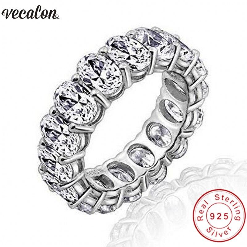 Vecalon 2018 Promesse De Mariage Bandes Anneau 925 Sterling Silver Oval cut 5A Zircon Cz bagues de Fiançailles pour femmes hommes Doigt bijoux