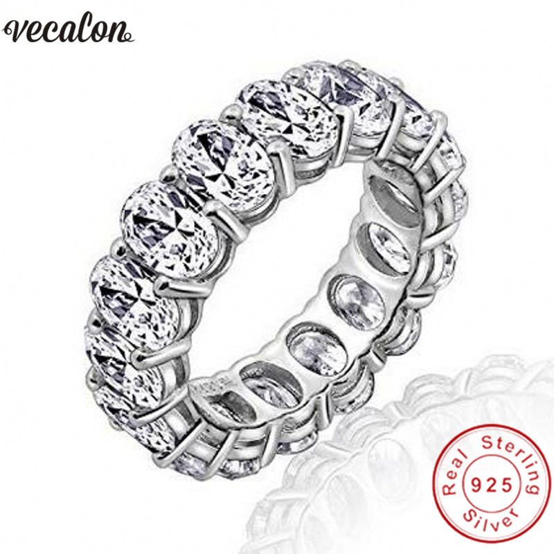 Vecalon 2018 Promise Wedding Bands Ring 925 Sterling Silver Oval cut 5A Zircon Cz Engagement rings