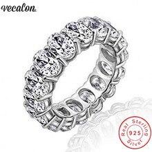 Vecalon 2018 обещание обручальные кольца 925 пробы серебряных овальным вырезом 5A Циркон Cz Обручение кольца для женщин мужчин палец ювелирные изделия