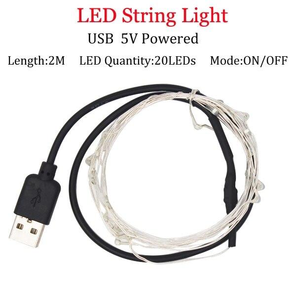 Светодиодный светильник-гирлянда s 10 м 5 м 2 м, серебряная гирлянда, украшение для дома, Рождества, свадьбы, вечеринки, питание от батареи 5 В, USB, сказочный светильник - Испускаемый цвет: 2m  USB  Powered