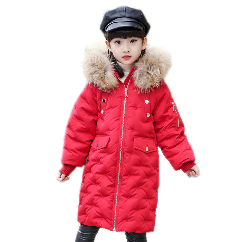 Big Fur Hooded Girl Winter Down Jackets Long Children Coats Thick Duck Down Outerwears for cold -30 degree Boys Winter Jackets new winter girls boys down jackets baby kids long sections down coats thick duck down warm jacket children outerwears 30degree