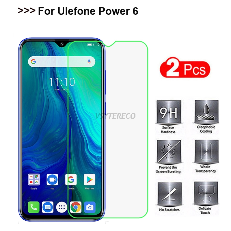 "2PCS For Ulefone Power 6 Tempered Glass 9H 2.5D Premium Mobile Phone Screen Protector For Ulefone Power 6 Glass Protector 6.3"" ["