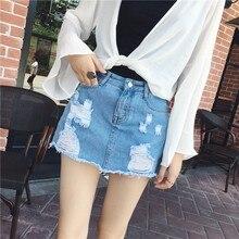 Повседневные джинсовые шорты для женщин с высокой талией летние шорты для женщин джинсовая юбка-шорты юбка бермуды высокое качество синий хит