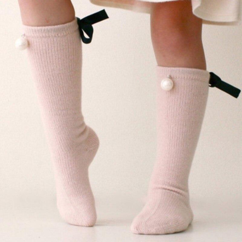 2017 Cute Baby Long Booties Kids Bow Knee High Socks