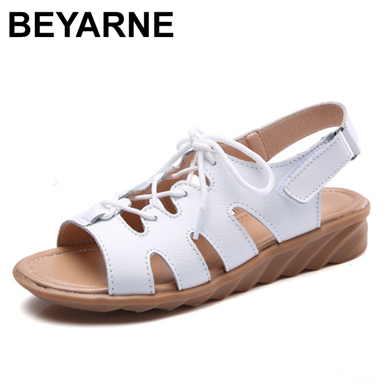 BEYARNE Women Sandals Shoes Flats Genuine Leather Lace up Peep Toe Ladies Low Heels Sandals Summer Shoes gladiator sandals Beach drkanol women sandals 2018 genuine leather flat gladiator sandals for women summer casual shoes peep toe slip on vintage sandals