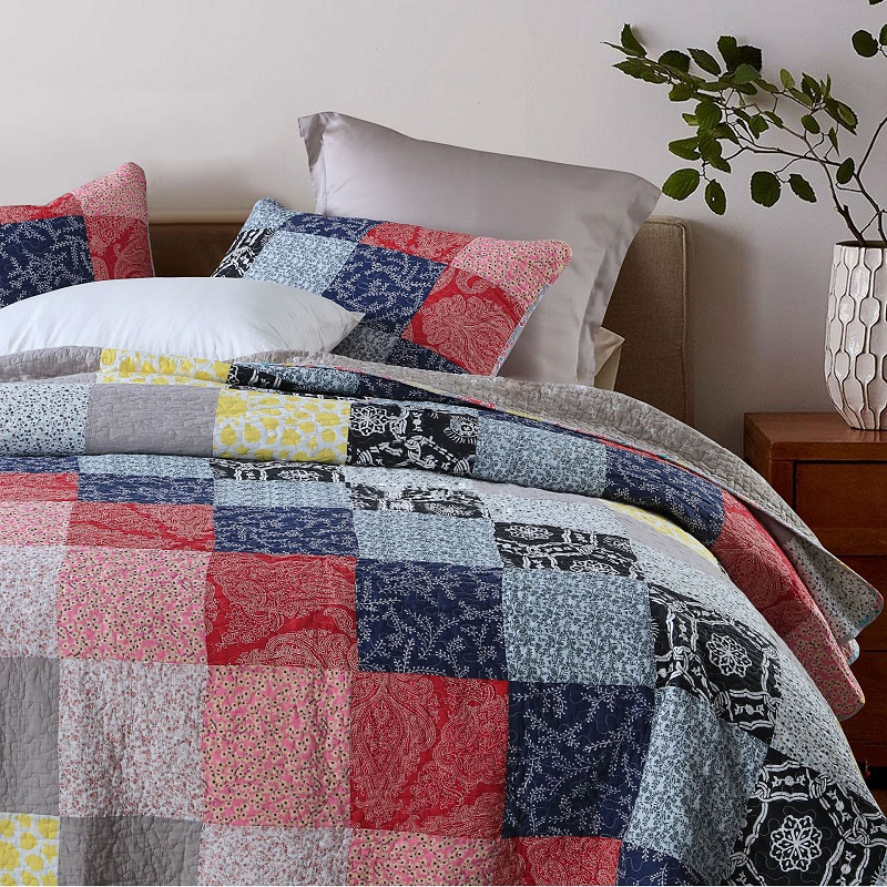 Handcrafted Quality Patchwork Quilt 3 Pieces Set Queen