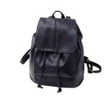 GUBINTU 2017 New Fashion Leather Drawstring Satchel Shoulder Backpack Newest Vintage Rucksack Soft PU Leather Bags Travel School