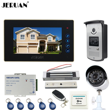 JERUAN Wired 7 inch TFT Touch key Video Door Phone intercom System + waterproof RFID Access IR Camera + 700TVL Analog Camera