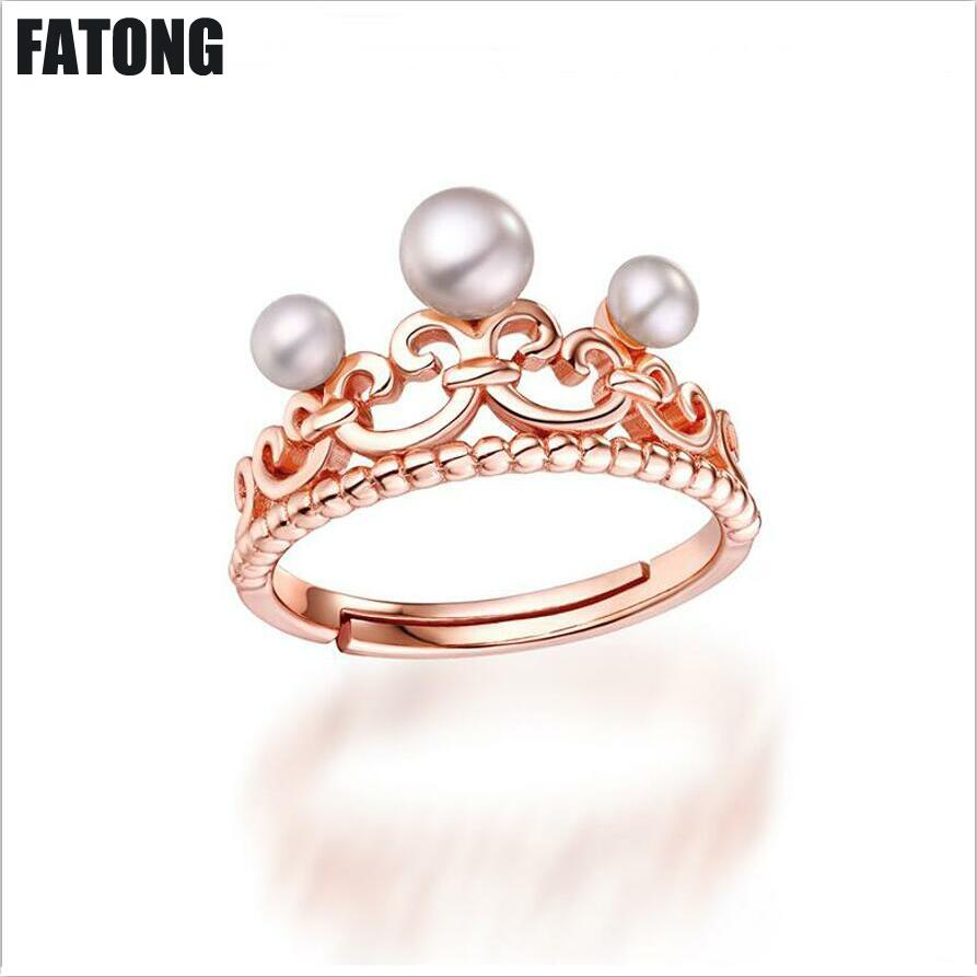 Explosion models direct national wind female ring 925 sterling silver jewelry pearl adjustable ring. J097