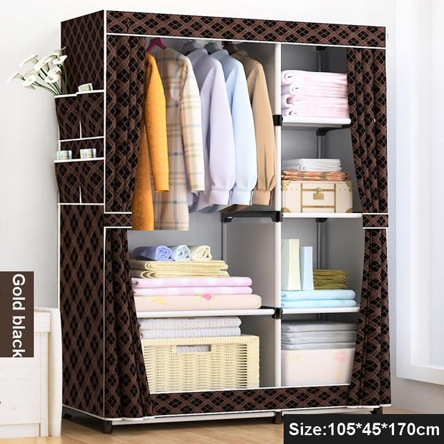 DIY Simple Fold Non Woven Wardrobe Storage Organizer Cupboard Furniture  Cabinet Bedroom Furniture Reinforcement Stowed